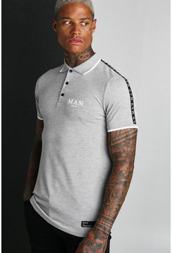 Grey MAN Roman Muscle Fit Polo With Sleeve Tape