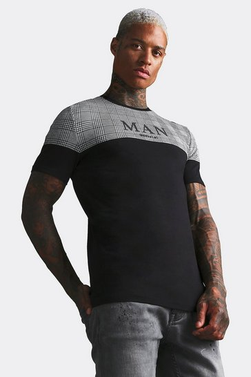 Black MAN Roman Muscle Fit T-Shirt With Jacquard Panel