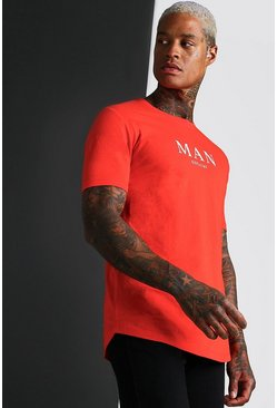 T-shirt à ourlet arrondi Muscle Fit MAN Roman, Rouge feu