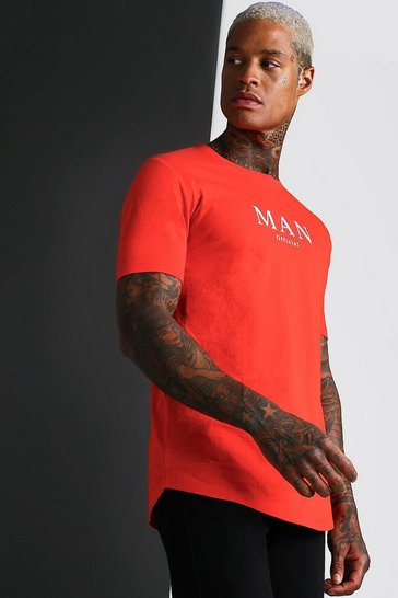 Fire red Muscle Fit MAN Roman T-Shirt With Curved Hem