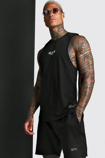 Black MAN Roman Drop Armhole Tank With Side Tape