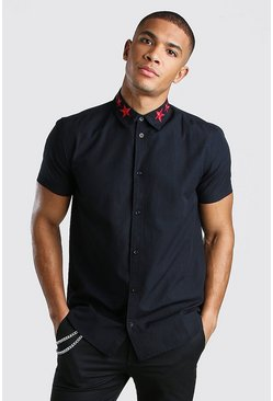 Short Sleeve Star Embroidered Collar Shirt , Black