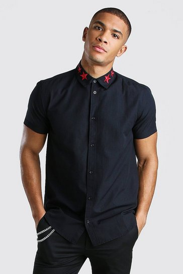 Black Short Sleeve Star Embroidered Collar Shirt