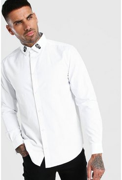 Long Sleeve Skull Embroidered Collar Shirt , White