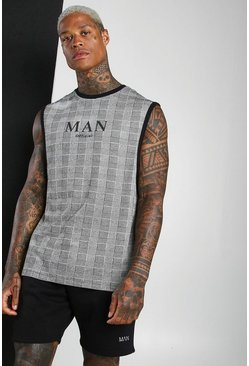 Black MAN Roman Jacquard Check Drop Armhole Tank