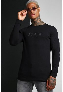 Black Muscle Fit MAN Raglan Long Sleeve T-Shirt