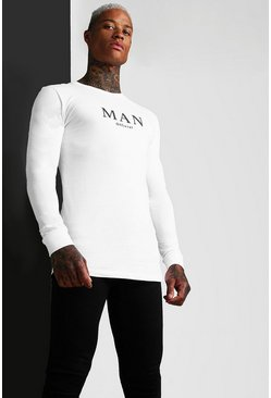 White Muscle Fit MAN Ragaln Long Sleeve T-Shirt