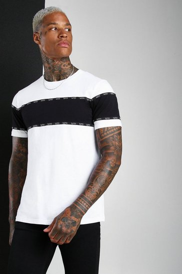 White MAN Roman Colour Block T-Shirt With Tape