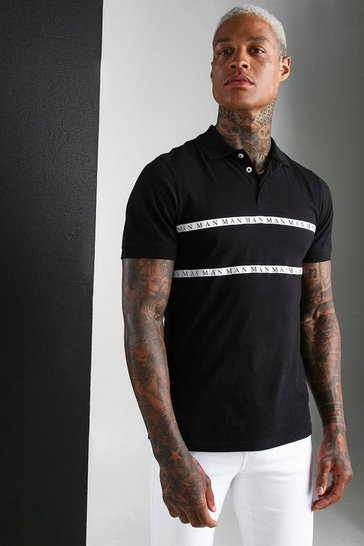 Black MAN Roman Polo Shirt With Tape
