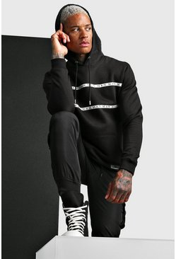 MAN Roman OTH Hoodie With Tape, Black