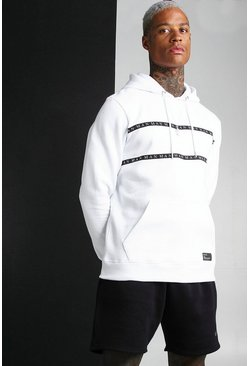 White MAN Roman OTH Hoodie With Tape