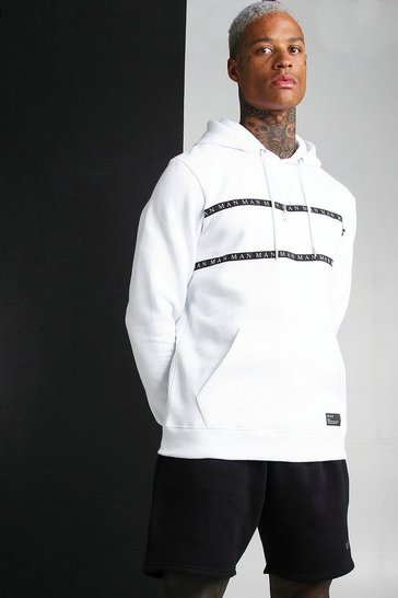 White MAN Roman Hoodie With Tape