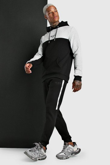 Black MAN Colour Block Hooded Tracksuit With Tape