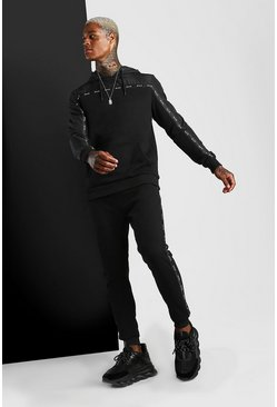 Black Nylon Panel Hooded Tracksuit With MAN Tape