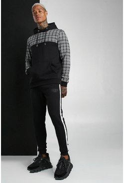 Black MAN Colour Block Jacquard Hooded Tape Tracksuit