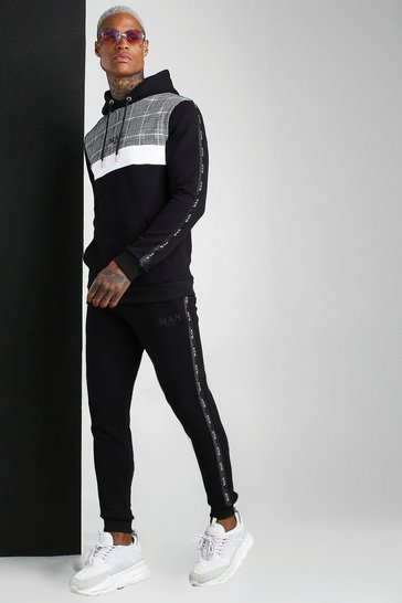 Black Colour Block MAN Tape Jacquard Hooded Tracksuit
