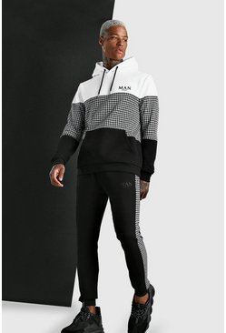 Jacquard Dogtooth Colour Block Tracksuit, Black