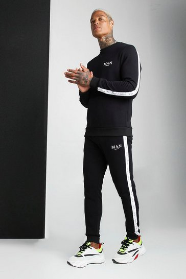Black Sweater Tracksuit With Man Tape