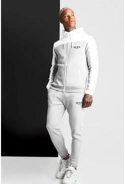 Grey marl MAN Colour Block Zip Hooded Tape Tracksuit