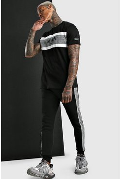 Black MAN Jacquard T-Shirt And Jogger Set