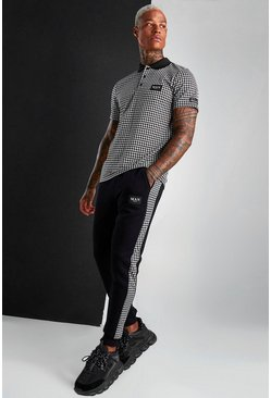 Black MAN Dogtooth Polo And Jogger Set