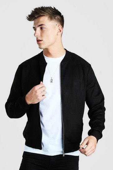 Black Faux Suede Smart Bomber