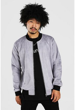 Grey Faux Suede Smart Bomber
