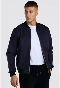 Navy Faux Suede Smart Bomber