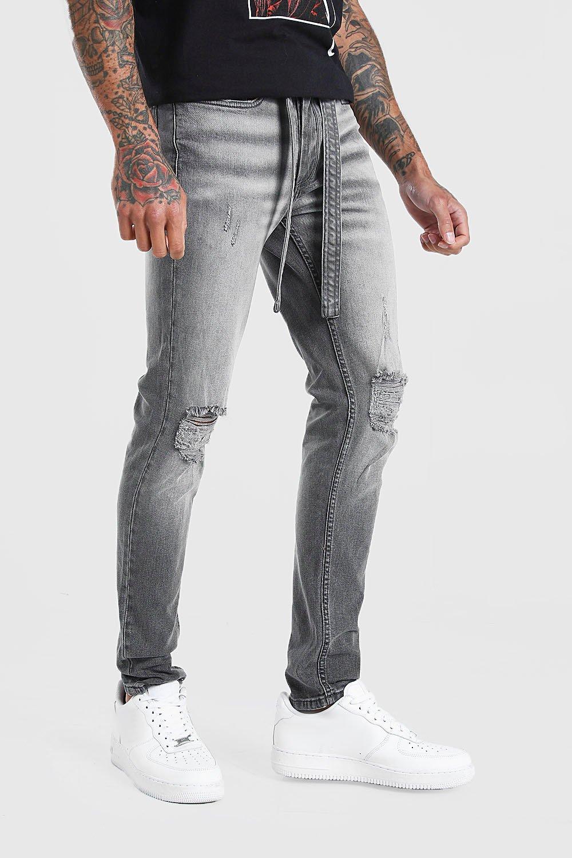 mens skinny distressed jean with belt - grey