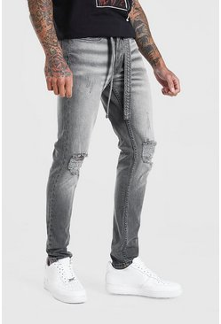 Skinny Distressed Jean With Belt, Grey