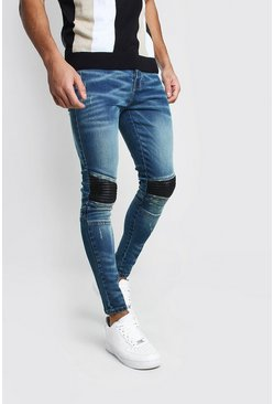 Super Skinny Biker Jeans With Faux Leather Panel, Mid blue