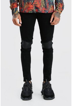 Super Skinny Biker Jeans With Faux Leather Panel, Black