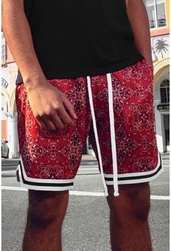 Red Bandana Print Airtex Basketball Short