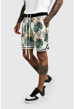 Ecru Tropical Print Airtex Basketball Shorts