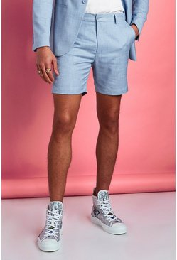 Light blue Skinny Fit Suit Shorts