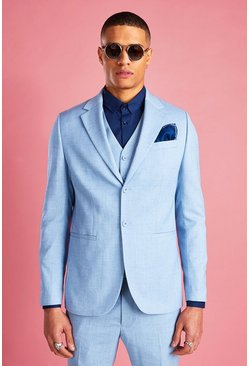 Skinny Fit Suit Jacket, Light blue