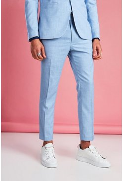 Light blue Skinny Fit Cropped Suit Pants