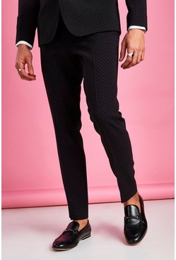 Black Skinny Fit Prom Polka Dot Suit Pants