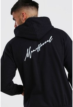 MAN Official Script Front & Back Print Hoodie, Black