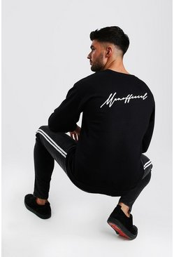 MAN Official Script Back Print Sweatshirt, Black