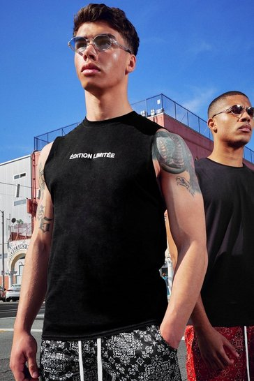 Black Limited Edition French Slogan Drop Armhole Tank