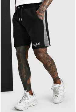 Short à empiècement jacquard MAN Roman, Noir