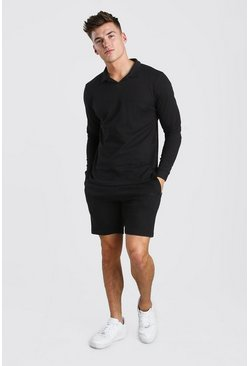 Black Pique Revere Polo and Pintuck Short Set
