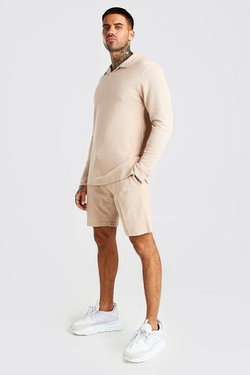 Stone Pique Revere Polo and Pintuck Short Set