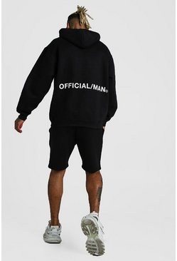 Black Oversized Official MAN Back Print Short Tracksuit
