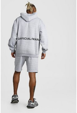 Grey marl Offical Man Back Print Short Tracksuit