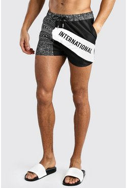 Black MAN International Bandana Print Spliced Swim Short