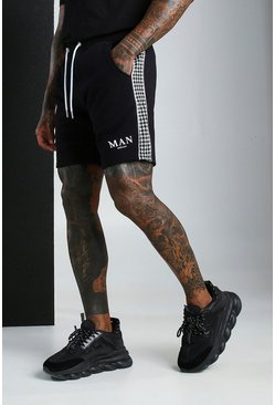 Black MAN Roman Dogtooth Panel Jersey Short