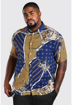 Navy Big And Tall Long Sleeve Chain Print Shirt