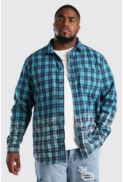 Teal Big And Tall Bleach Hem Check Shirt